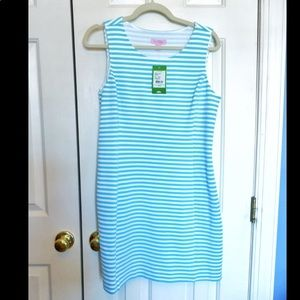 NWT Lilly Pulitzer Shorely Blue Striped Dress Sz L